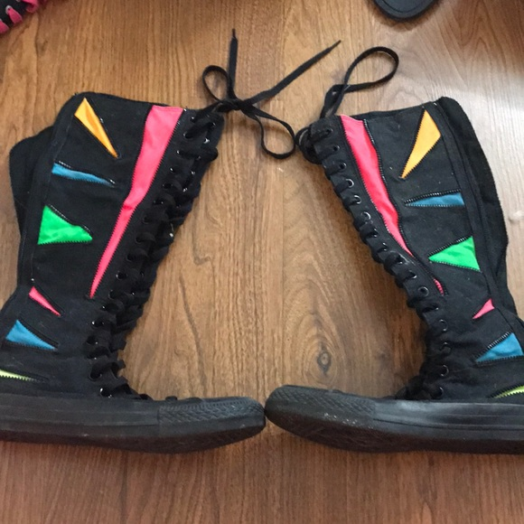 Converse Shoes - Knee high black and colored zip converse d7ba8a31e
